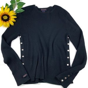 Ralph Lauren Sweater Ribbed Buttons Shoulder